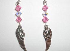 Pink Swarovski Crystal Dangle Angel Wing Earrings by SillyLillys, $6.00