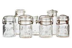 "Kitchen Glass Storage Jars, S/7 | 1960s set of seven glass kitchen canning/storage jars. Set includes five small jars (4""Dia x 5.75""H) and two large jars (4""Dia x 7.5""H). Marked: Ball and Atlas."