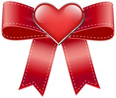 Red Bow with Heart Transparent PNG Clip Art Image