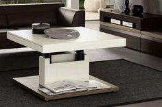 table basse relevable blanche avec tiroir de rangement