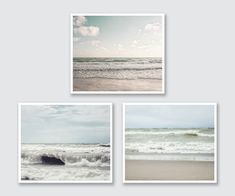 Beach Print Set 3 Beach Landscape Photographs by LisaRussoFineArt