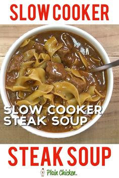 {Slow Cooker} Steak Soup Slow Cooker Steak Soup - sirloin roast, beef broth, onion soup mix, tomato paste, Worcestershire sauce and egg noodles. Serve with some crusty bread for an easy weeknight meal! Crock Pot Recipes, Crockpot Dishes, Slow Cooker Recipes, Cooking Recipes, Healthy Recipes, Cooking Games, Cooking Classes, Cooking Videos, Camping Cooking