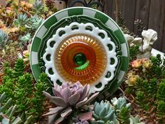 Drought Resistant Plate Flowers. #150.          Garden Yard Art glass and ceramic plate flower