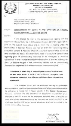 UPGRADATION OF CLASS-IV AND SANCTION OF SPECIAL COMPENSATORY ALLOWANCE for BPS-16   NOTIFICATION OF UPGRADATION OF CLASS-IV AND SANCTION OF SPECIAL COMPENSATORY ALLOWANCE 2015-16 Source:http://bit.ly/2lutE2j