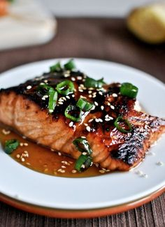 Toasted Sesame Ginger Salmon Recipe Main Dishes with salmon, olive oil, toasted… Fish Recipes, Seafood Recipes, Great Recipes, Cooking Recipes, Healthy Recipes, Summer Recipes, Asian Recipes, Tilapia Recipes, Cooking Games