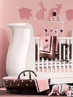 """Nice pink and brown - reminds me a little bit of """"Noah's Ark"""" theme, but in pink and brown!"""