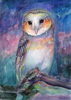 Owl Photos, Owl Pictures, Owl Watercolor, Watercolor Paintings, Owl Paintings, Watercolours, Owl Bags, Beautiful Owl, Bird Artwork