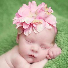 Pink Flowerette Burst Baby Headband #Melondipity