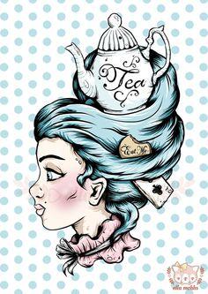 A4 Print of a Teapot Lady Illustration by ellamobbs on Etsy, $20.00