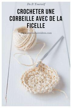 Crocheter une corbeille avec de la ficelle / diy ficelle / crocheter de la ficelle / corbeille au crochet
