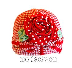 vintage gingham quilt baby chapeau / hat with by mojackson on Etsy