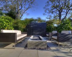 Long Fire Pit  Modern Landscaping  Z Freedman Landscape Design  Venice, CA