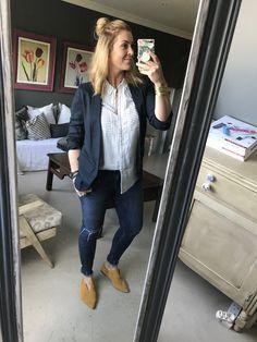#blazer #white #grey #collarshirt #jeans #mustard #flats #makeup #watch #bracelet #imageconsultant #stylist #personalshopper #motivationalspeaker #saimage