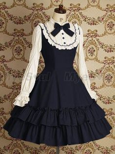 Blue Long Sleeves Lace Cotton Lolita Dress Lolita Clothing Vestidos  Victorianos 090d2bac22db