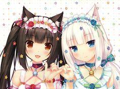 2girls animal_ears black_hair catgirl chocolat_(sayori) nekopara sayori scan vanilla_(sayori) white_hair