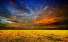 Preview wallpaper field, horizon, clouds, layers, veil, cloudy, bad weather