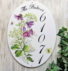 Columbine Custom Address Sign Custom Name Sign Custom House House Number Plaque, House Numbers, Outdoor Wall Art, Address Plaque, Pottery Painting, Name Signs, Wall Plaques, Custom Homes, Painted Rocks