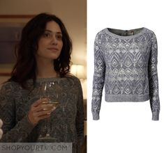 Fiona Gallagher (Emmy Rossum) wears this blue lace sweater in this episode of Shameless. It is the Free People Follow Me Sweater. [...]