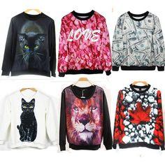 2015 Autumn Winter Women Men 3D Hoodies Pullovers Sweatshirts Sudaderas Harajuku Galaxy Top Cat Loves Dollars Maple Leaf Lion