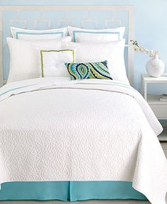Look for striped bed skirt for this set or fabric to make one. And throw pillows.  Trina Turk Bedding, Santorini White Collection - Bedding Collections - Bed & Bath - Macy's