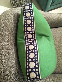 design indulgence: Lacefield for TAYLOR BURKE HOME linen pillow with fret tape