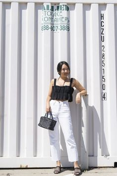 Vintage white Levi's jeans with black ruffle crop top Petite Fashion Tips, Petite Outfits, Cami Crop Top, Crop Tops, White Springs, Spring Fashion Outfits, Petite Women, Black Ruffle