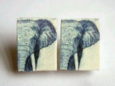 Shrink plastic elephant cufflinks by UrsulaHaugArt