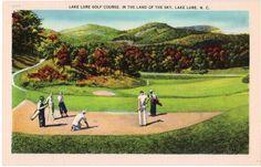 Vintage North Carolina Postcard  Golfing at Lake by VintagePlum, $5.00