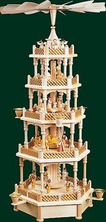 Silent Night Music Box German Christmas Pyramid