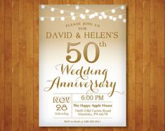 50th Anniversary Invitation Rehearsal Dinner DIY print your own