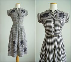 robe vintage des années 1950 / 50 s coton robe de jour chemisier / Magic Hollyhock robe par HungryHeartVintage sur Etsy https://www.etsy.com/fr/listing/233153108/robe-vintage-des-annees-1950-50-s-coton