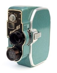 1950s seafoam green Bauer Super 8 Movie Camera, circa 1954.