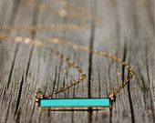 Hot Trend Bar Necklace , Turquoise Necklace , Delicate Gold Necklace , Amy Fine Design