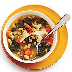 Tuscan White Bean Soup with Escarole Recipe Soups with olive oil, finely chopped onion, garlic cloves, organic vegetable broth, water, fresh rosemary, great northern beans, thyme sprigs, parmigiano-reggiano cheese, escarole, carrots, crushed red pepper, salt, ground black pepper, white wine vinegar, fresh parmesan cheese
