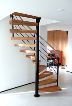 Spiral Staircase Kits, Spiral Stairs Design, Home Stairs Design, Home Room Design, Modern House Design, Interior Design Living Room, Tiny House Stairs, House Staircase, Stairs Architecture