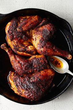 Roast Chicken with Harissa and Schmaltz