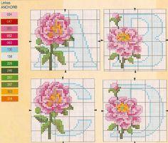 cross stitch - pink flower alphabet