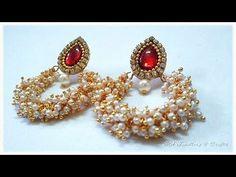 How to make Pearl Loreal Earrings Pearl Necklace Designs, Jewelry Design Earrings, Bead Earrings, Beaded Jewelry, Silk Thread Earrings, Thread Jewellery, Fabric Jewelry, Earrings Handmade, Handmade Jewelry