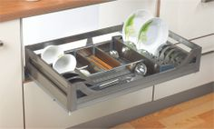 Satin Silent Multifunctional Drawer  Pull out basket with anti scratch base Completely organized with place for bowls, cutlery and plates. 35 kgs loading capacity
