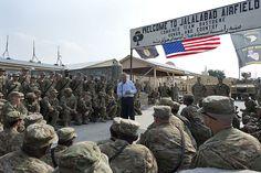 Secretary Chuck Hagel speaks to 101st troops in Afghanistan
