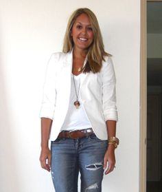 White blazer over white tee or shirt....nice clean look over jeans~