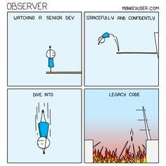 Observer Programming Humor, Work Humor, Work Funnies, Emoji Faces, Plot Twist, Funny Stories, Computer Science, Software Development, Best Funny Pictures