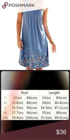 Cute Floral Beach Dress This blue dress is perfect for the beach! It is made out of polyester and spandex which gives it a smooth feel. This dress is not see through. EllaB Dresses Mini
