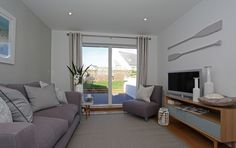 Family room at The Sands, Polzeath Corner Desk, Family Room, Curtains, Sands, Interiors, Furniture, Holiday, Home Decor, Insulated Curtains