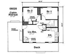 Plano de cabaña o casa 53m2
