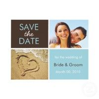 Beach Theme Save the Date photo cards in turquoise and brown with a heart in the sand  #beach #weddings #savethedate $1.70