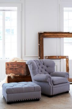 Ralph Lauren Home's tufted Writer's Chair and Ottoman reimagined in blue & white Ryan Stripe fabric