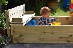 This DIY wooden sandpit is made out of decking boards. The lid folds out to make two benches and it can be built start to finish in a couple of evenings. Wooden Sandpit With Lid, Wooden Sandbox, Sandbox Sand, Kids Sandbox, Sandbox Diy, Childrens Sand Pit, Sandpit Cover, Sand Pits For Kids, Kids Indoor Playground
