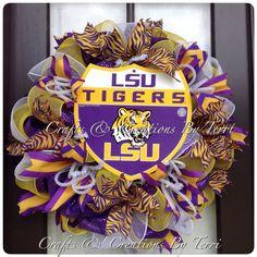 Deco Mesh LSU Tigers Football Wreath Door Decor by CreatedByTerri, $80.00
