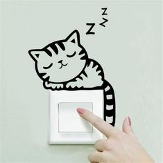 Removable Wall Stickers Cartoon Cat Light Switch Art Mural Home Decor Decals Wall Stickers Cats, Removable Wall Stickers, Wall Decals, Stickers For Walls, Bedroom Wall Stickers, Phone Stickers, Art Vinyl, Wall Painting Decor, Body Painting